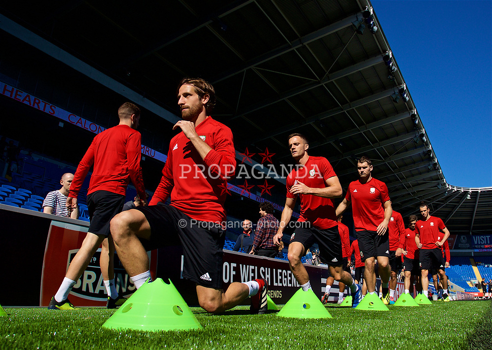 CARDIFF, WALES - Wednesday, September 5, 2018: Wales' Joe Allen and Andy King during a training session at the Cardiff City Stadium ahead of the UEFA Nations League Group Stage League B Group 4 match between Wales and Republic of Ireland. (Pic by David Rawcliffe/Propaganda)
