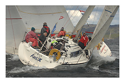 Sailing - The 2007 Bell Lawrie Scottish Series hosted by the Clyde Cruising Club, Tarbert, Loch Fyne..The final days racing had cold steady Northerly breeze to decide the overall placings..GBR581R,  Antix, John Allen, X302 Class 4.