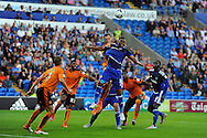 Cardiff City's Kagisho Dikgacoi (blue) is challenged by Wolves captain Richard Stearman. Skybet football league championship match, Cardiff city v Wolverhampton Wanderers at the Cardiff city stadium in Cardiff, South Wales on Saturday 22nd August 2015.<br /> pic by Carl Robertson, Andrew Orchard sports photography.