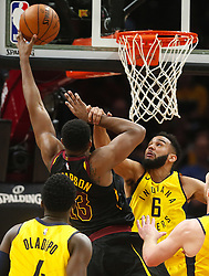 April 29, 2018 - Cleveland, OH, USA - Cleveland Cavaliers center Tristan Thompson scores over Indiana Pacers guard Cory Joseph in the second quarter of Game 7 during the Eastern Conference First Round series on Sunday, April 29, 2018 at Quicken Loans Arena in Cleveland, Ohio. The Cavs won the game, 105-101. (Credit Image: © Leah Klafczynski/TNS via ZUMA Wire)