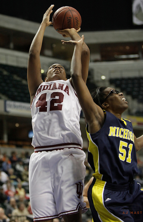 05 March 2009: Indiana forward Amber Jackson (42) as the Indiana Hoosiers played the Michigan Wolverines in the first round of the 2009 Women's Big Ten tournament in Indianapolis.