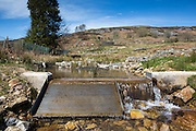 The intake at the entry point to the farms 15kW hydro power plant on the Brecon Beacons, Wales.