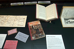 Some of the exhibits in the British Library, London during the opening of Victorian Entertainments: There Will Be Fun which explores popular Victorian entertainments which have shaped the theatrical traditions of today.