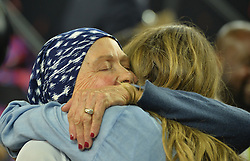 Tom Brady's mother Galynn Patricia Brady kisses Gisele Bundchen at Super Bowl LI at the NRG Stadium in Houston, TX, USA, on February 5, 2017. Photo by Lionel Hahn/ABACAPRESS.COM