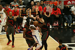 December 17, 2018 - Los Angeles, CA, U.S. - LOS ANGELES, CA - DECEMBER 17:Los Angeles Clippers Center Montrezl Harrell (5) looking for basket inside over Portland Trail Blazers Center Jusuf Nurkic (27) during the Portland Trail Blazers at Los Angeles Clippers NBA game on December 17, 2018 at Staples Center in Los Angeles, CA.. (Photo by Jevone Moore/Icon Sportswire) (Credit Image: © Jevone Moore/Icon SMI via ZUMA Press)
