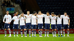 Preston North End players line up during the penalty shoot out - Mandatory byline: Matt McNulty/JMP - 07966386802 - 22/09/2015 - FOOTBALL - Deepdale Stadium -Preston,England - Preston North End v Bournemouth - Capital One Cup - Third Round