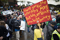 November 12, 2016 - Manchester, Greater Manchester, UK - Manchester , UK . The rally at Castlefield . Approximately 2000 people march and rally against Fracking in Manchester City Centre  (Credit Image: © Joel Goodman/London News Pictures via ZUMA Wire)