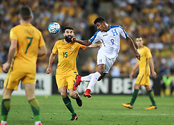 November 15, 2017 - Sydney, Australia - Mile Jedinak (2nd L) of Australia vies with Antony Lozano of Hunduras during the FIFA world cup 2018 Qualifiers intercontinental Playoff match between Australia and Honduras at Stadium Australia in Sydney. Australia won 3-1. (Credit Image: © Bai Xuefei/Xinhua via ZUMA Wire)