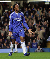 Photo: Paul Thomas.<br /> Chelsea v Levski Sofia. UEFA Champions League, Group A. 05/12/2006. <br /> <br /> Didier Drogba of Chelsea has a frustrating night so far.