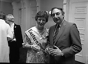 """Calor Kosangas Housewife of the Year - Dublin Regional Final.26/10/1982  26.10.1982..""""Calor Kosangas Housewife Of The Year 1982"""". Dublin Regional Final..The final was held in the Gresham Hotel,O'Connell St,Dublin. The winner was Mrs.,Deirdre Ryan,Derrypatrick,Drumree,Co Meath..Deirdre poses with author and journalist, Trevor Danker"""