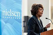 "WASHINGTON, DC -- 9/21/17 -- Congresswoman Maxine Waters hosts the unveiling of Nielsen's seventh annual Diverse Intelligence Series report on African-Americans at the Congressional Black Caucus Foundation annual conference. The 2017 report, ""African-American Women: Our Science, Her Magic"", details data and consumer insights on African-American women's consumer preferences and brand affinities that are driving total Black spending power toward a record $1.5 trillion by 2021..…by André Chung #_AC16767"