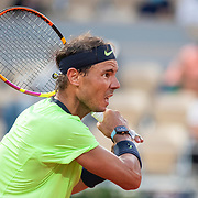 PARIS, FRANCE June 11. Rafael Nadal of Spain in action against Novak Djokovic of Serbia on Court Philippe-Chatrier during the semi finals of the singles competition at the 2021 French Open Tennis Tournament at Roland Garros on June 11th 2021 in Paris, France. (Photo by Tim Clayton/Corbis via Getty Images)