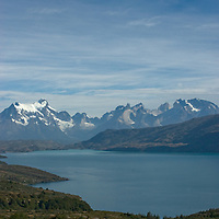 The Towers of Paine and Horns of Paine tower over Lago Toro in Torres del Paine National Park, Chile.