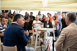 PORTOROZ, SLOVENIA - SEPTEMBER 16:  Franjo Bobinac (R) and Lovro Peterlin at Zdruzenje manager VIP tournament during the WTA 250 Zavarovalnica Sava Portoroz at SRC Marina, on September 16, 2021 in Portoroz / Portorose, Slovenia. Photo by Vid Ponikvar / Sportida