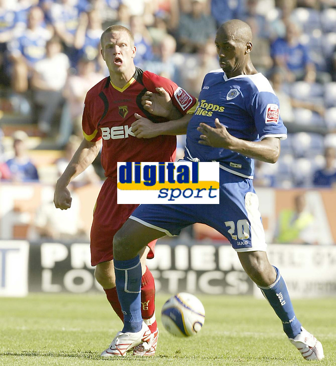Photo: Aidan Ellis.<br /> Leicester City v Watford. Coca Cola Championship. 25/08/2007.<br /> Leicester's Mark De Viers holds of Watford's Will Hoskins