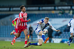 BLACKBURN, ENGLAND - Saturday, January 16, 2021: Stoke City's Jacob Brown (L) and Blackburn Rovers' Jarrad Branthwaite during the Football League Championship match between Blackburn Rovers FC and Stoke City FC at Ewood Park. The game ended in a 1-1 draw. (Pic by David Rawcliffe/Propaganda)