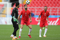 June 22, 2018 - Moscow, RUSSIA - Tunesia's Aymen Mathlouthi, Tunesia's Yassin Meriah and Tunesia's Ali Maaloul pictured during a training session of Tunisian national soccer team in the Spartak stadium, in Moscow, Russia, Friday 22 June 2018. The team is preparing for their second game against Belgium tomorrow at the FIFA World Cup 2018. BELGA PHOTO BRUNO FAHY (Credit Image: © Bruno Fahy/Belga via ZUMA Press)