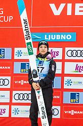 Winner Sara Takanashi of Japan celebrates at trophy ceremony during Day 3 of World Cup Ski Jumping Ladies Ljubno 2019, on February 10, 2019 in Ljubno ob Savinji, Slovenia. Photo by Matic Ritonja / Sportida