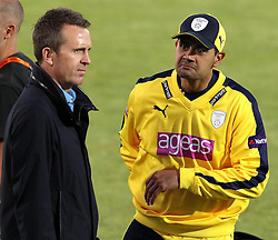 Hampshire's Owais Shah chats with Sky Sports Presenter and former England player Dominic Cork - Photo mandatory by-line: Robbie Stephenson/JMP - Mobile: 07966 386802 - 04/06/2015 - SPORT - Cricket - Southampton - The Ageas Bowl - Hampshire v Middlesex - Natwest T20 Blast
