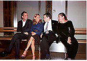 Max Wigram, Miucucci Prada, Norman Rosenthall and  Maula  Mema, ( she is Mrs. Norman Rosenthall at the Auchewitz bus stop.<br /> Apocalypse opening. Royal Academy. 18 September 2000. © Copyright Photograph by Dafydd Jones 66 Stockwell Park Rd. London SW9 0DA Tel 020 7733 0108 www.dafjones.com