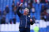 Neil Warnock, the Cardiff city manager shows his sheer delight as he celebrates Cardiff's 1-0 win at the end of the game. . EFL Skybet championship match, Cardiff city v Bristol city at the Cardiff city stadium in Cardiff, South Wales on Sunday 25th February 2018.<br /> pic by Andrew Orchard, Andrew Orchard sports photography.