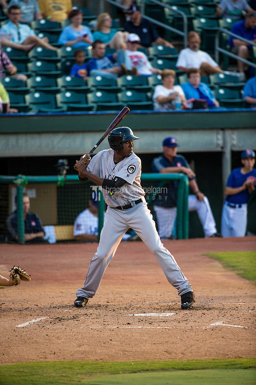 Gabby Guerrero (27) of the Jackson Generals bats during a game between the Jackson Generals and Chattanooga Lookouts at AT&T Field on May 7, 2015 in Chattanooga, Tennessee. (Brace Hemmelgarn)