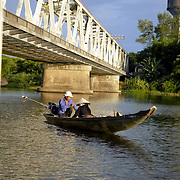 Couple on a small boat at Hue's Perfume river