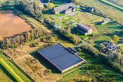 Nederland, Groningen, Gemeente Groningen, 04-11-2018; Waterbedrijf Groningen, pompstation Onnen. Zonne-energie centrale.<br /> Drinkwater station w solar panels.<br /> luchtfoto (toeslag op standaard tarieven);<br /> aerial photo (additional fee required);<br /> copyright © foto/photo Siebe Swart