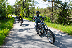 Andreas Hemlin riding his custom S&S Panhead on a Twin Club ride out from the club house in Norrtälje after their annual Custom Bike Show. Sweden. Sunday, June 2, 2019. Photography ©2019 Michael Lichter.