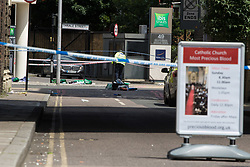 London, June 4th 2017. Paramedic bags and equipment lie in Thrale Street during a massive policing operation in the aftermath of the terror attack on London Bridge and Borough Market on the night of June 3rd which left seven people dead and dozens injured
