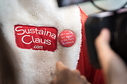 2 December 2019, Madrid, Spain: 'All I want for Christmas is the Paris Rulebook' reads a pin worn by Sustaina Claus from Conscience Land, as he attends day one of COP25 in Madrid. Alongside political leaders and negotiators, COP25 is attended by a broad range of activists trying to promote ambitious action to address climate change.
