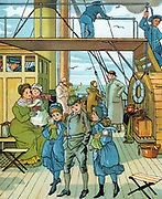 English family taking the air on deck crossing the English Channel on a steamer on their way to France for a continental holiday. Little girls, arm-in-arm with older brother, clutch their dolls. Wind blows scarves and bonnet ribbons nearly horizontal. On deck are folding stools, luggage on bench, and leather hatbox.  Chromolithograph  1886.