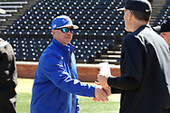 WINSTON-SALEM, NC - MARCH 04: UMass Lowell head coach Ken Harring (left) and Wake Forest head coach Tom Walter (right). The Wake Forest University Demon Deacons hosted the UMass Lowell River Hawks on March 4, 2018, at David F. Couch Ballpark in Winston-Salem, NC in a Division I College Baseball game. Wake Forest won the game 14-7.