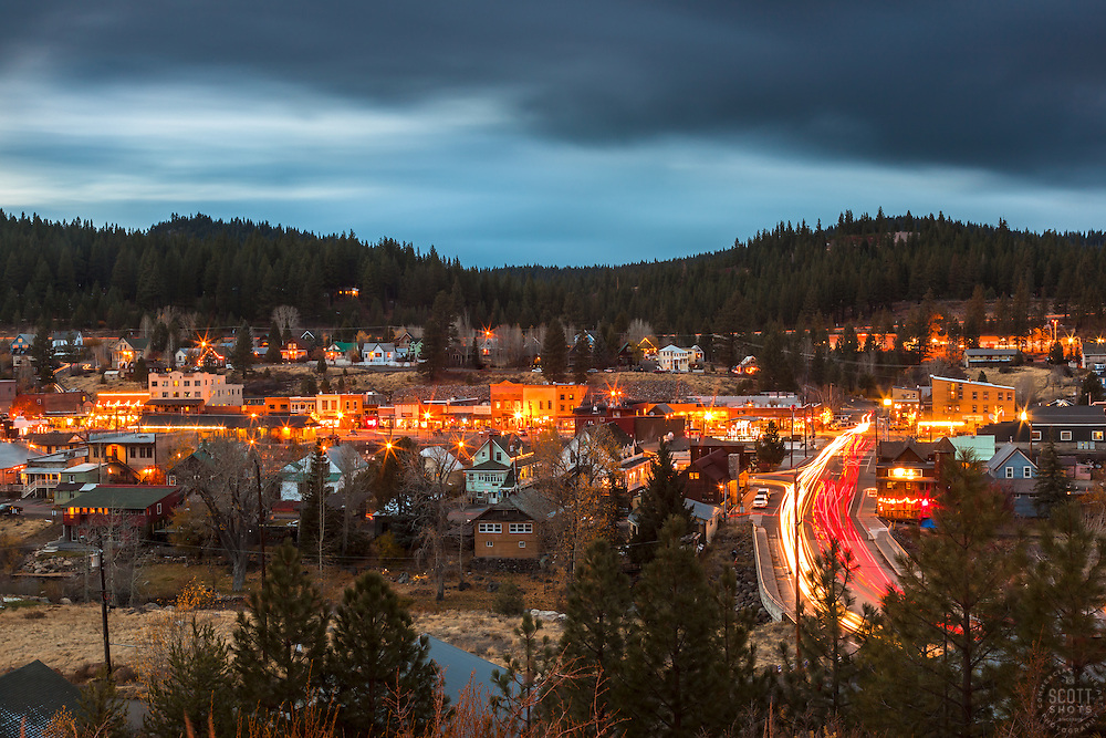 """""""Downtown Truckee 23"""" - Long exposure photograph of Historic Downtown Truckee, California. Shot at dusk from near the Cottonwood Restaurant."""