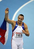 Photo: Rich Eaton.<br /> <br /> EAA European Athletics Indoor Championships, Birmingham 2007. 04/03/2007. Roman Sebrle of Czech Republic celebrates winning gold in the mens heptathlon