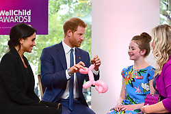 The Duke and Duchess of Sussex attend the annual WellChild Awards at The Royal Lancaster Hotel, London, UK, on the 4th September 2018. Picture by Victoria Jones/WPA-Pool. 04 Sep 2018 Pictured: Meghan Markle, Duchess of Sussex, Prince Harry, Duke of Sussex. Photo credit: MEGA TheMegaAgency.com +1 888 505 6342