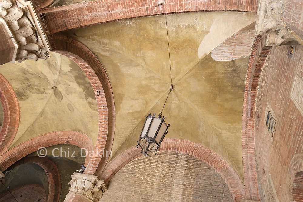Siena - arched roof in the entrance to the Torre del Mangia