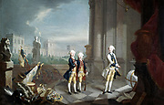 The Sons of Frederick II, Landgrave of Hesse-Kassel'. William (1743-1821), Charles (1744-1836), Frederick (1747-1837), grandsons of George II of Great Britain.  Oil on canvas by Johann Heinrich Tischbein (1751-1829) German painter.