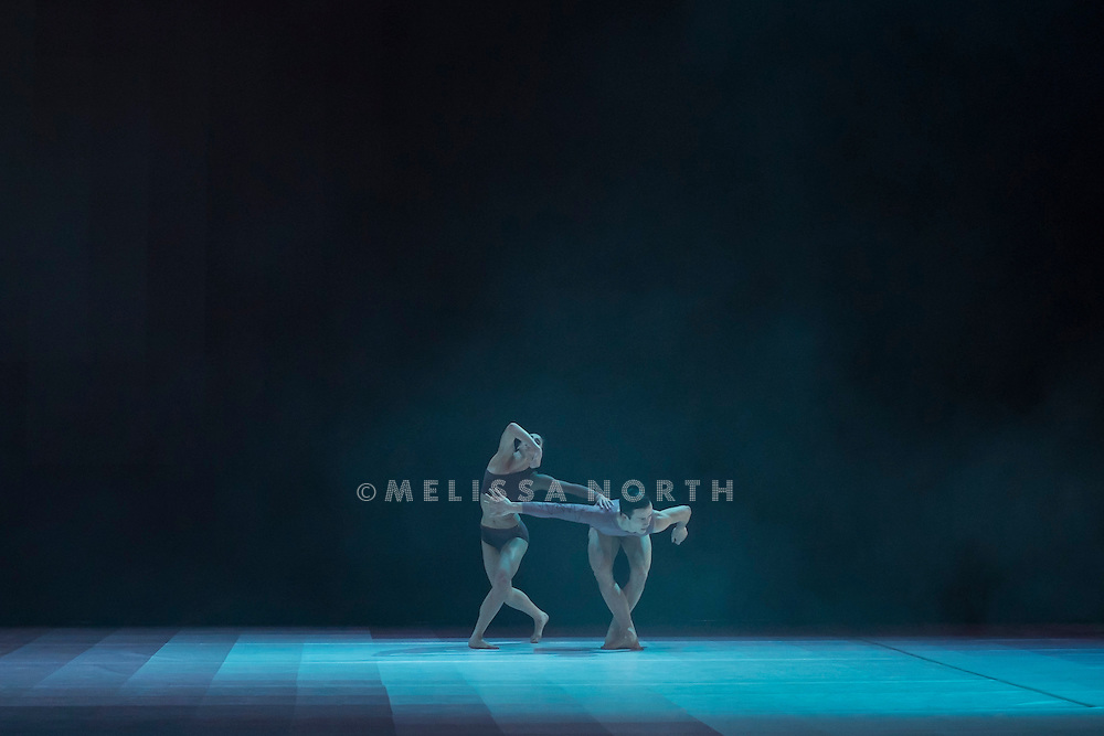 Wayne McGregor/Random Dance's Atomos performed at Sadler's Wells, London, UK on 13th February 2015. Atomos, by contemporary choreographer Wayne McGregor, returned to Sadler's Wells on Friday 13th and Saturday 14th February 2015. It was performed by the ten dancers from the award-winning Sadler's Wells Resident Company Wayne McGregor | Random Dancel.