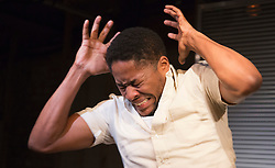 "© Licensed to London News Pictures. 01/11/2012. London, England. Pictured: Adetomiwa Edun. World Premiere of ""but i cd only whisper"", a play by Kristina Colón, directed by Nadia Latif, running at the Arcola Studio 2 from 31 October to 1 December 2012. Photo credit: Bettina Strenske/LNP"