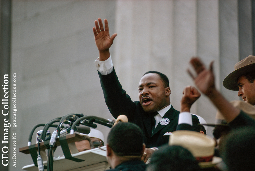 """Dr. Martin Luther King, Jr. on steps of Lincoln Memorial giving the """"I have a dream"""" speech during the 1963 March on Washington."""