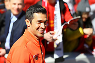 Luis Garcia of Liverpool legends team looks on prior to kick off. Liverpool Legends  v Real Madrid Legends, Charity match for the LFC Foundation at the Anfield stadium in Liverpool, Merseyside on Saturday 25th March 2017.<br /> pic by Chris Stading, Andrew Orchard sports photography.