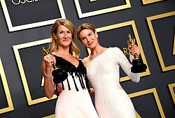 Laura Dern with her Oscar for Best Supporting Actress and Renee Zellweger with her Best Actress Oscar in the press room at the 92nd Academy Awards held at the Dolby Theatre in Hollywood, Los Angeles, USA.