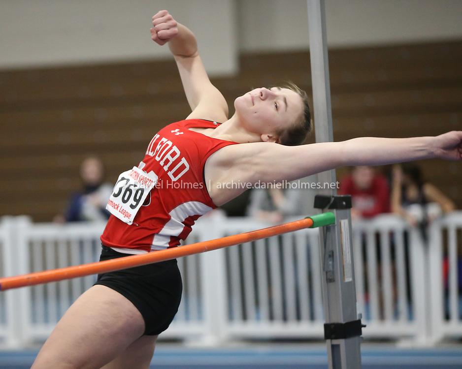 (1/16/20, BOSTON, MA) Milford's Sarah Brogioli competes int he high jump during the Hockomock League indoor track meet at the Reggie Lewis Center in Boston on Thursday. [Daily News and Wicked Local Photo/Dan Holmes]