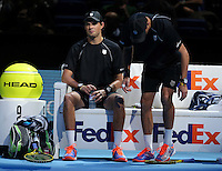 Bob Bryan and Mike Bryan in action today during their match against Ivan Dodig and Marcelo Melo in their Doubles Final match<br /> <br /> Photographer Kieran Galvin/CameraSport<br /> <br /> International Tennis - Barclays ATP World Tour Finals - O2 Arena - London - Day 8 - Sunday 16th November 2014<br /> <br /> © CameraSport - 43 Linden Ave. Countesthorpe. Leicester. England. LE8 5PG - Tel: +44 (0) 116 277 4147 - admin@camerasport.com - www.camerasport.com