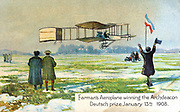 Henri Farman (1874-1958), French aviator and aircraft constructor, in his Voisin biplane winning Archdeacon Deutsch prize for first circular l kilometre flight, Paris, 13 January 1908. From series of postcards on flying machines published c1910. Chromolithograph