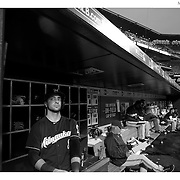 Ryan Braun, Milwaukee Brewers, prepares to bat in the dugout during the New York Mets Vs Milwaukee Brewers, MLB regular season baseball game at Citi Field, Queens, New York. USA. 16th May 2015. Photo Tim Clayton