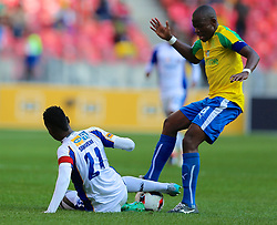 Hlompho Kekana of Mamelodi Sundowns (R) during the 1st leg of the MTN8 Semi Final between Chippa United and Mamelodi Sundowns held at the Nelson Mandela Bay Stadium in Port Elizabeth, South Africa on the 11th September 2016<br /><br />Photo by: Richard Huggard / Real Time Images