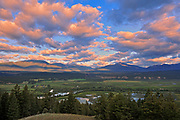 Looking west across the Columbia Valley to the Purcell Mountains at sunrise, Radium, British Columbia, Canada
