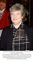 DAME ANTONIA BYATT at a dinner in London on 30th May 2002.PAN 93